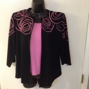 Ming Wang vintage women's sz M embroidered suit